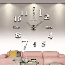 Fanyuanfds Frameless DIY Wall Clock,Large 3D Mirror Wall Clock Home Deco... - $17.75