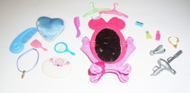 19 Pc  Barbie Accessories Mirror, Hangers, Combs, Scales, Perfumes, Neck... - $9.89