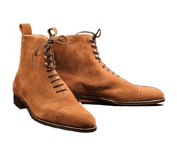 Handmade Men's Brown High Ankle Lace Up Suede Boots image 1