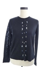 Talbots Petites Black Silk Button Down Sweater Cardigan S 6 Small 6P - $16.00