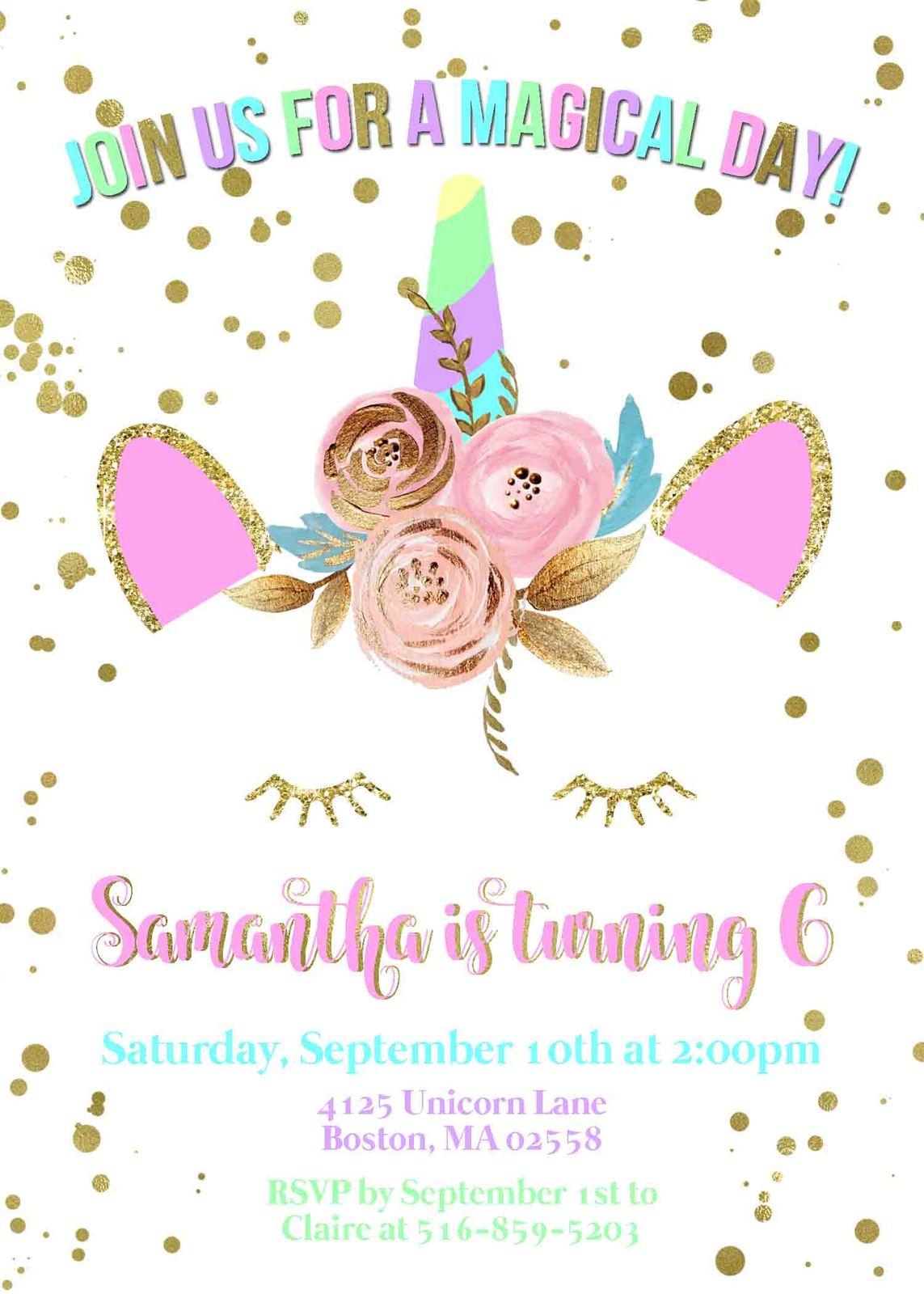 Whimsical Unicorn Invitation Pink Gold and 47 similar items
