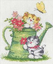 """Design Works Counted Cross Stitch kit 8"""" x 10"""" ~ WATERING CAN CATS #3247 - $11.99"""