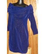Vintage 80s ZUM ZUM off shoulder ls velvet Dress size 9-10 - $85.99