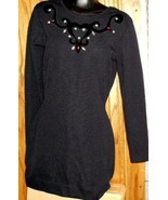 Vintage 80s Black embellish BANDAGE Mini Dress open back P - $87.48