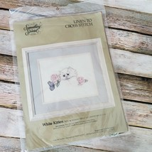 Something Special White Kitten Linen To Cross Stitch Kit 70051 Vintage 1989 - $12.86