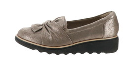 Clarks Suede Slip-On Loafer Knotted Sharon Dasher Pewter 7.5W NEW A311042 - $70.27
