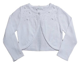 Bonnie Jean Big Girl Tween 7-16 White Beaded Mini Rosette Knit Cardigan Sweater