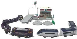 Lot Tomy Tomica Hypercity Mega Station, Bullet Train Motorized, Grocery ... - $89.99