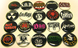 """20 HEAVY METAL Thrash Bands ONE Inch Buttons 1""""... - $9.99"""