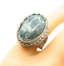 925 Sterling Silver - Vintage Jasper Filigree Detail Cocktail Ring Sz 7 ... - $48.16
