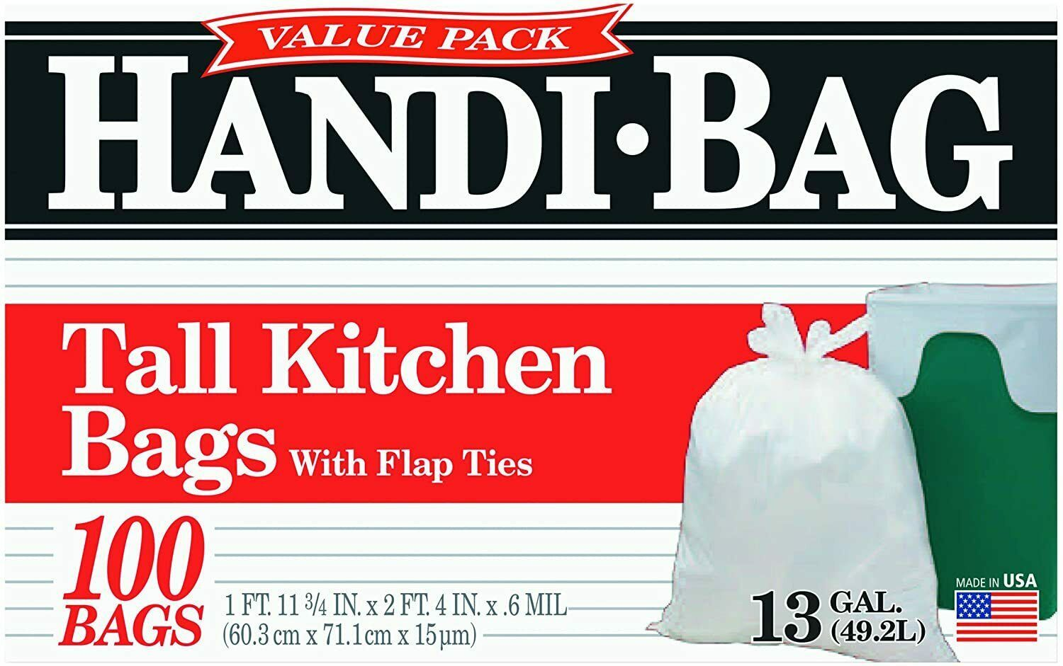 Primary image for Handi-Bag Kitchen Trash Bags, 13 Gallon, Flap Ties, Value Pack 0.6 Mil White