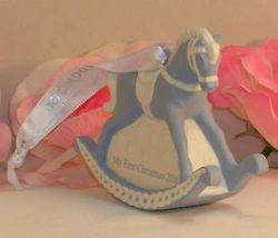 New Wedgwood Blue Jaspeware Baby 1ST First Christmas Rocking Horse Ornament 2016 image 5