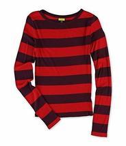 Aeropostale Womens Striped Graphic T-Shirt 607 SZ L Red Purple Horizonta... - $9.99