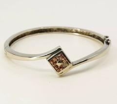 """7"""", Vtg Gold Over Sterling Silver Handmade Bangle, 925 Bracelet W/ Pink ... - $31.67"""