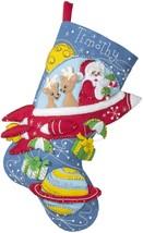 """Bucilla Felt Stocking Applique Kit 18"""" Long-Rocket Ship Santa - $27.51"""