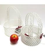 Set 3 Beaded Basket with Handle Shabby Chic Nesting Baskets Wedding Flow... - $29.92