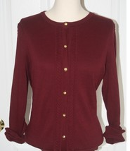 Lands End  Women's LS Supima Crew Cardigan Sweater Brandywine New - $44.99