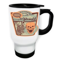 Skull Game Over Midnight White/Steel Travel 14oz Mug y403t - $17.79