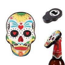 Day Of The Dead Skull Magnet Bottle Opener Figurine Made of Polyresin - $9.90