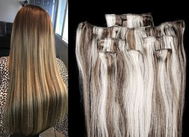 """18"""",20"""",22"""",24"""" 100% Remy Human Highlighted Hair Extensions 7Pcs Clip in #4/613  - $69.29+"""