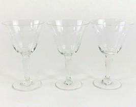 3 Vintage Crystal Wine Glasses Set Elegant Goblets 4 3/4 Inches Clear Glass - $49.98