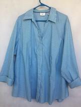 Riders Lee Women Sz 3X Long Sleeve Stripe Career Shirt Blue White V-Neck Buttons - $29.74