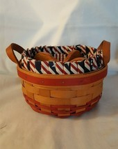 Longaberger 1996 BUTTON BASKET Leather Strap Handles Fabric Liner Wood Dividers - $19.95