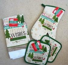 Kitchen Linen Set - 1 Oven Mitt, 1-Towel 2-Pot Holders Christmas Gift Se... - $10.00