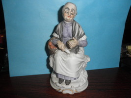 """OLD WOMAN WITH A BASKET PARING FRUIT 6"""" FIGURINE MADE IN TAIWAN - $15.79"""
