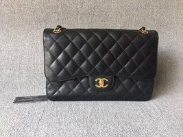 AUTHENTIC NEW CHANEL BLACK CAVIAR QUILTED JUMBO DOUBLE FLAP BAG GOLD HARDWARE