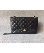 AUTHENTIC NEW CHANEL BLACK CAVIAR QUILTED JUMBO DOUBLE FLAP BAG GOLD HAR... - $5,299.99