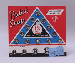 12 Count British Snaps - Silver Size 00 Quality Snaps Garment Fasteners ... - $2.00