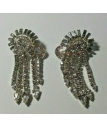 Vintage Signed KRAMER of N.Y. Clear Rhinestone Dangle Clip Earrings - $75.00