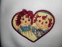 Raggedy Ann & Andy Fleece Baby Blanket Lovey Beige Soft Plush Embroidere... - $48.95