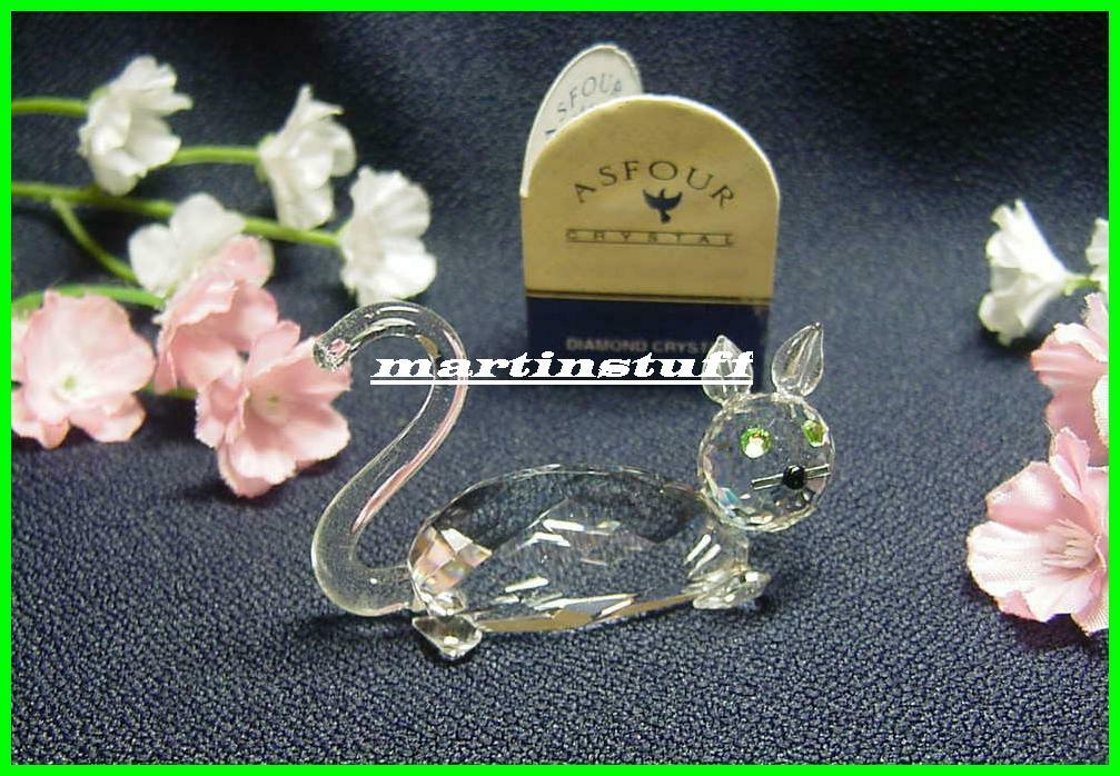 Primary image for Retired Asfour® Crystal CAT Figurine with Green Eyes New In Original Box COA