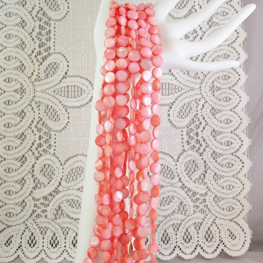 Peach Mother of Pearl Shell Beads Round lentil, 10mm 1 str, 40 beads