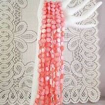 Peach Mother of Pearl Shell Beads Round lentil, 10mm 1 str, 40 beads image 3