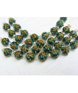 Round Green Lampwork Glass Beads with Flower, 8 beads 12mm - $6.60