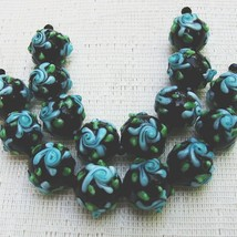Round Black Lampwork Glass Beads with Aqua Flower, 6 Beads. 12mm image 2