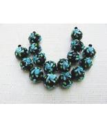 Round Black Lampwork Glass Beads with Aqua Flower, 6 Beads. 12mm - $4.95