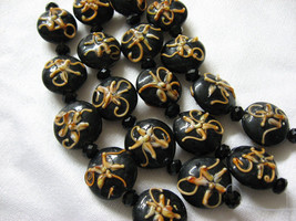 Round Lentil Lampwork Glass Beads, Black with Peach, 5 beads, 18mm image 2