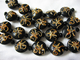 Round Lentil Lampwork Glass Beads, Black with Peach, 5 beads, 18mm image 1