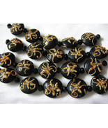 Round Lentil Lampwork Glass Beads, Black with Peach, 5 beads, 18mm - $5.79