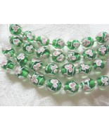 Green Lampwork Glass Beads with Pink Flower, 12mm, 7 beads - $5.39
