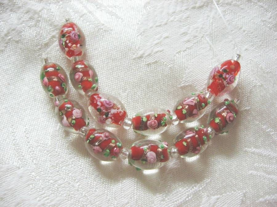 Lampwork Glass Beads, Red with Pink Flower, 15mm, 6 beads