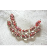 Lampwork Glass Beads, Red with Pink Flower, 15mm, 6 beads - $4.29