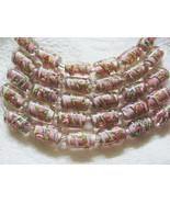 Mauve Pink Lampwork Glass Tube Beads, 15mm 6 beads - $4.29