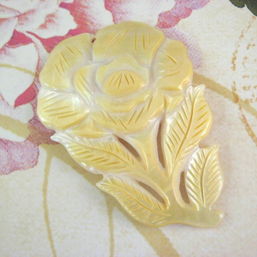Yellow, White Mother of Pearl Shell Carved Flower Pendant, 68mm