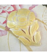Yellow, White Mother of Pearl Shell Carved Flower Pendant, 68mm - $8.99