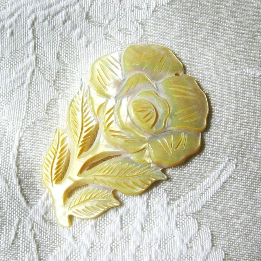 Yellow, White Mother of Pearl Shell Carved Flower Pendant, 68mm image 2